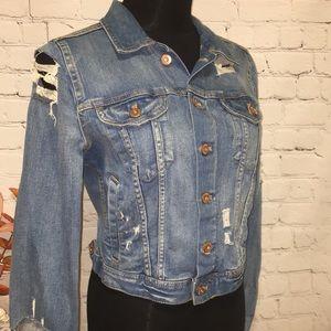 🍂 H&M Distressed Denim Jacket SM/M